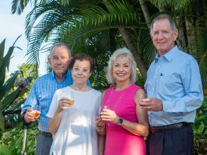 Event Founders Tom and Linda Uhler raise a glass with Bank of the Islands' Robbie and Geoff Roepstorff